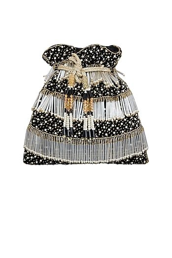 Black Embroidered Velvet Potli Bag by Inayat