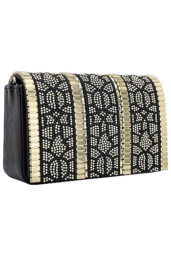 Black And Gold Geometric Flapover Clutch by Inayat