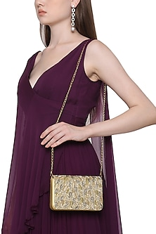 Gold And Silver Embellished Flapover Clutch by Inayat