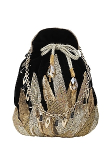 Gold And Black Embroidered Potli Bag by Inayat