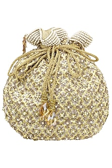 Gold Floral Embroidered Potli Bag by Inayat