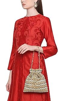 Multi-Coloured Zig Zag Embroidered Potli Bag by Inayat