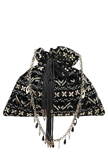 Black And Gold Aztec Pattern Potli Bag by Inayat