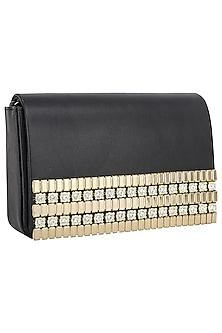Black And Gold Stones Embellished Flapover Clutch by Inayat