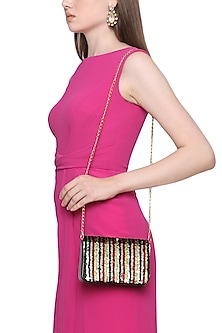 Multi-Coloured Sequins Flapover Clutch by Inayat