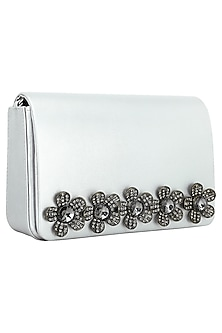 White Flapover Clutch with 3D Metallic Silver Flowers by Inayat