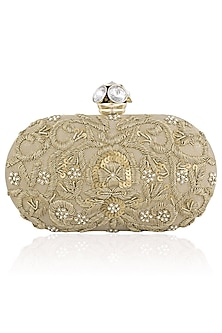 Gold Floral Zardozi Embroidered Oval Box Clutch by Inayat