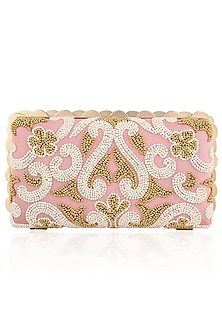 Peach, Gold and Ivory Beads Embroidered Box Clutch by Inayat