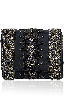 Black Rectangular Beads Clutch by Inayat