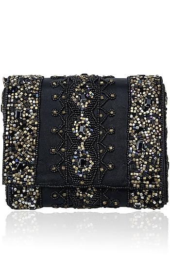 Black Rectangular Beads Clutch by Inayat