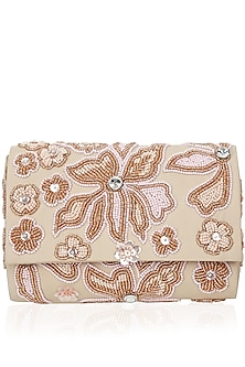 Nude Peach Sequins Flower Box Clutch by Inayat