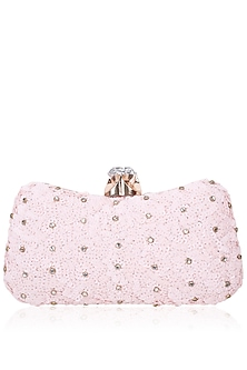 Pink Sequins Box Clutch by Inayat