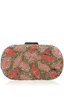 Gold Cutdana Oval Shaped Clutch by Inayat