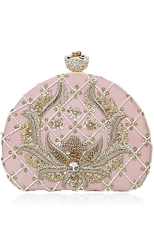 Rose D Shaped Sequins Clutch by Inayat
