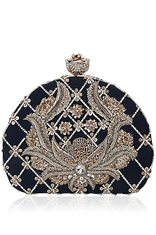 Midnight Blue D Shaped Sequins Clutch by Inayat