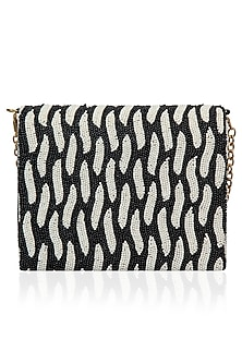 Black and White Beaded Flap Over Clutch by Inayat