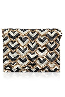 Antique Gold, Black and White Geometric Design Flap Over Clutch by Inayat