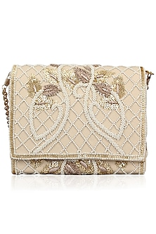 Nude Floral Delight Leather Flap Over Clutch by Inayat