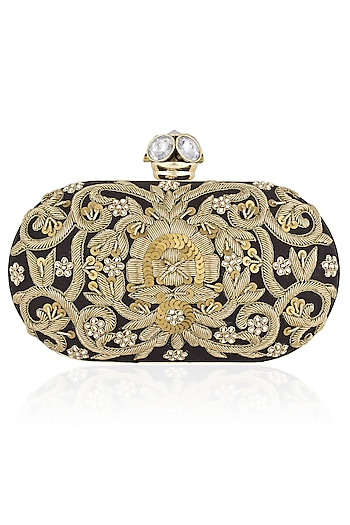Black and Gold Zardozi Embroidered Oval Box Clutch by Inayat