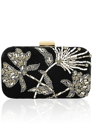 Black floral design velvet box clutch  by Inayat