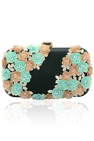 Black, pink and green floral design box clutch  by Inayat