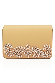 Peach floral design magnetic flap over clutch by Inayat