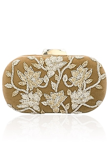 Mouse cutdana work velvet box clutch by Inayat
