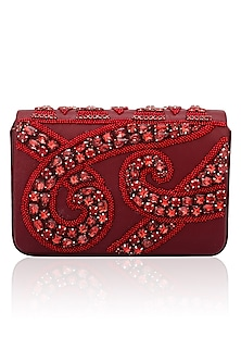 Red bead and stone work magnetic flap over clutch by Inayat