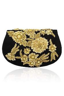 Black sequins and cutdana magnetic flap over clutch by Inayat