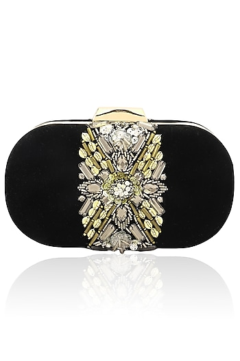 Black sequin and bead velvet box clutch by Inayat