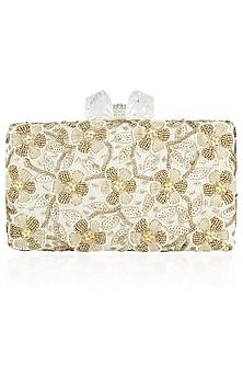 Ivory Floral Beads and Zardozi Work Box Clutch by Inayat