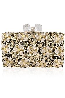 Black Floral Beads and Zardozi Work Box Clutch by Inayat