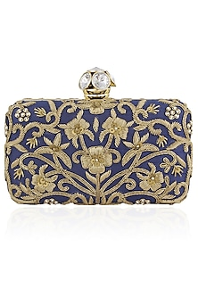 Royal Blue Floral Zardozi Embroidered Box Clutch by Inayat