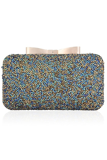 Blue and Gold Glitter Stones Box Clutch by Inayat