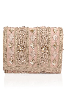Blush Peach and Gold Embroidered Flapover Clutch by Inayat