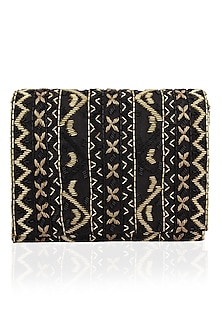 Black and Gold Zigzag Embroidered Flapover Clutch by Inayat