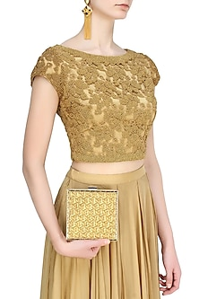 Gold Zardozi Embroidered Square Box Clutch by Inayat