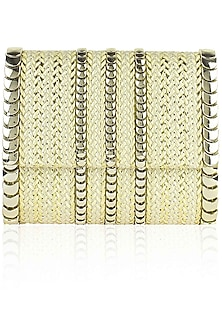 Ivory and gold knotted jute flapover sling bag by Inayat