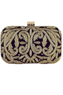 Black and gold zardozi embroidered box clutch by Inayat