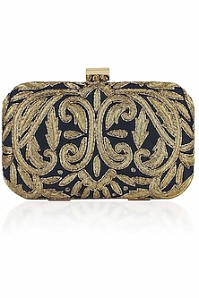 Navy blue and gold zardozi embroidered box clutch by Inayat