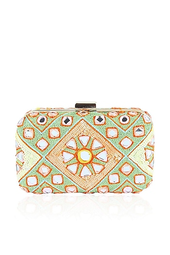Mint green and peach sequins and mirror work box clutch
