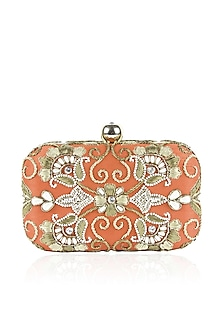 Orange and gold zardozi and pearl embroidered box clutch by Inayat