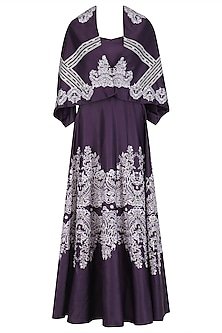 Deep Purple Lace Print Gown with Detachable Cape by Intri Printi By Pooja Solanki