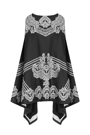 Black Lace Print Lightly Embellished Kaftan by Intri Printi By Pooja Solanki