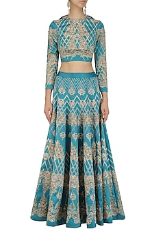 Teal Green Embroidered Lehenga and Crop Top Set by Intri Printi By Pooja Solanki
