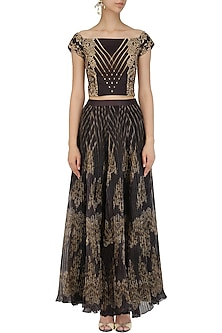 Black and Gold Pleated Skirt with Embellished Crop Top by Intri Printi By Pooja Solanki