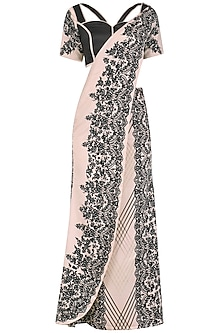 Black and Peach Embellished Draped Saree by Intri Printi By Pooja Solanki