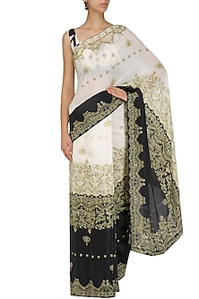 Off White and Black Colorblock Saree and Blouse Set by Intri Printi By Pooja Solanki