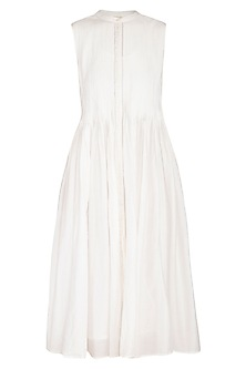 White Hand Embroidered Pleated Dress by Irabira