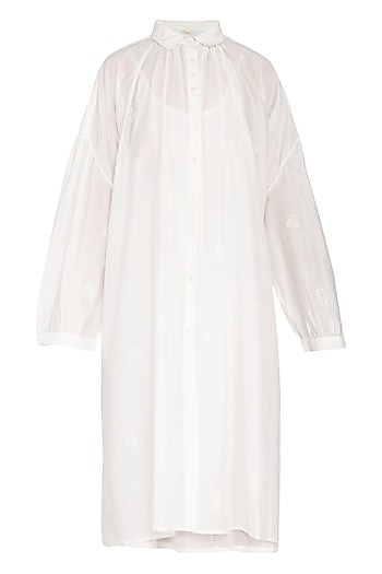 White Hand Embroidered Shirt Dress by Irabira